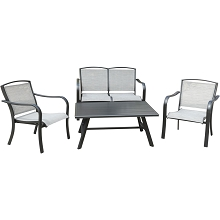 Hanover Foxhill 4-Piece Commercial-Grade Patio Seating Set with 2 Sling Lounge Chairs, Sling Loveseat, and a Slat-Top Coffee Table, FOXHILL4PC-GRY