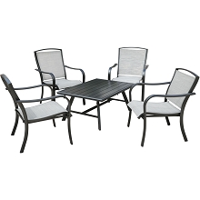 Hanover Foxhill 5-Piece Commercial-Grade Patio Seating Set with 4 Sling Lounge Chairs and a Slat-Top Coffee Table, FOXHILL5PCCT-GRY