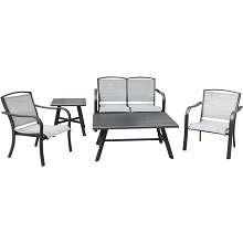 Hanover Foxhill 5-Piece Commercial-Grade Patio Seating Set with 2 Sling Chairs, Sling Loveseat, Slat Coffee Table, and 22