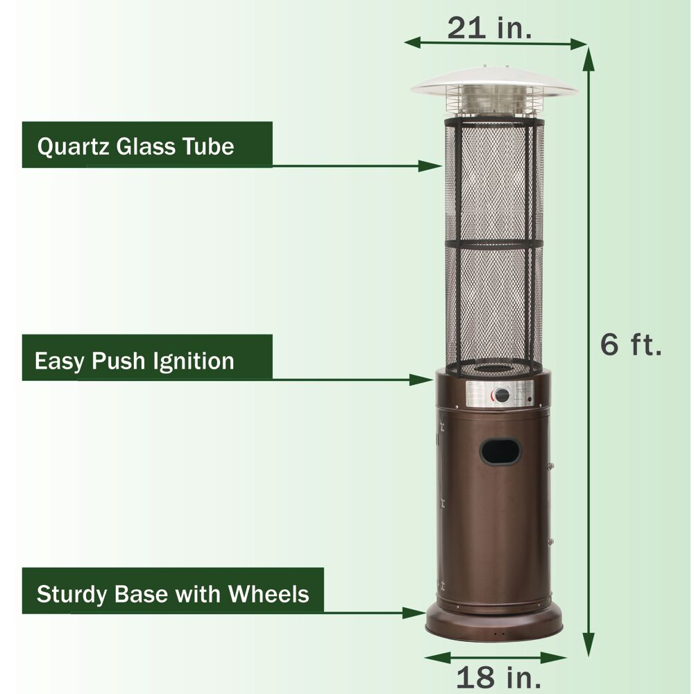 Hanover 6 Ft 34 000 Btu Cylinder Patio Heater With Glass