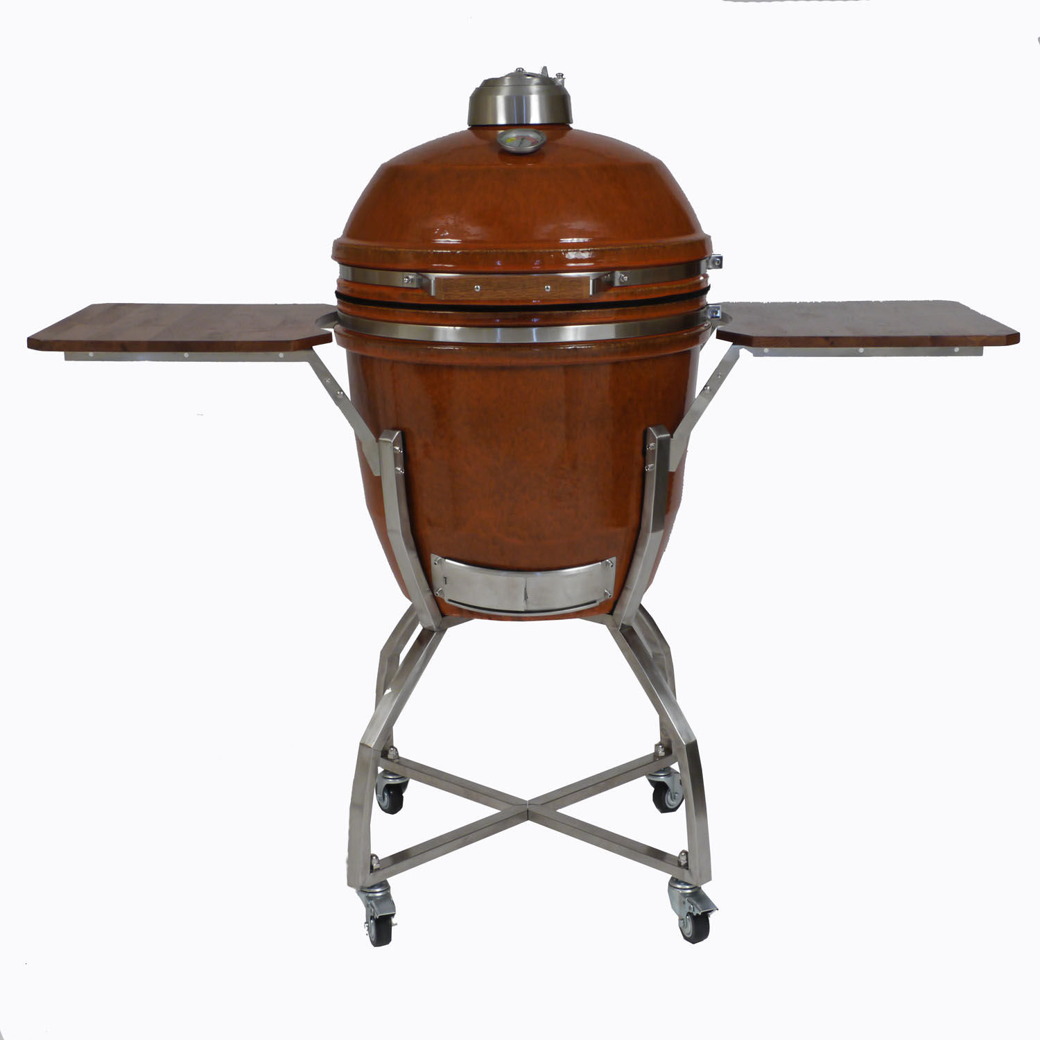 In ceramic kamado grill rust with stainless steel