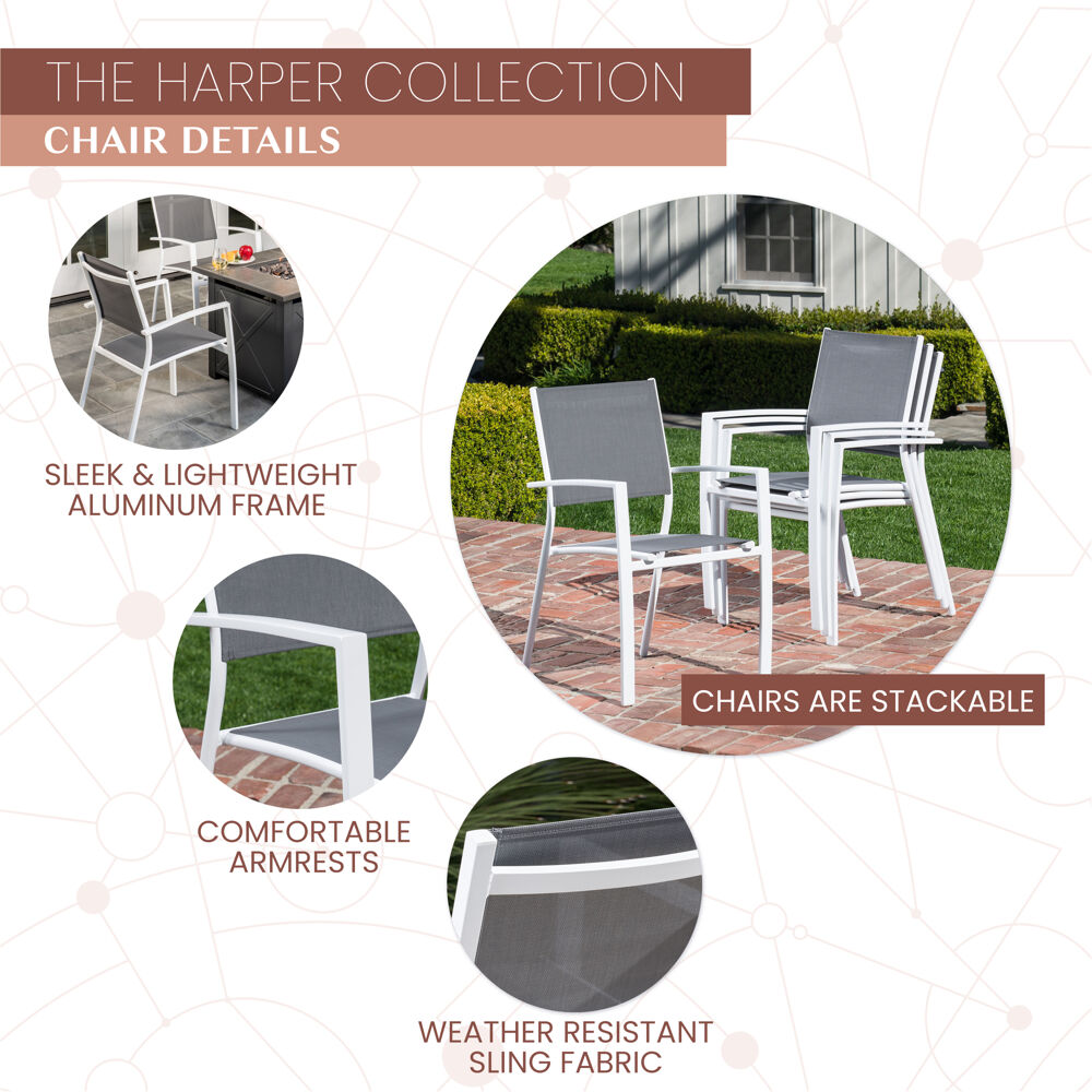 Mod Harper 5 Piece Fire Pit Chat Set 4 Sling Chairs And 40 000 Btu Tile Top Fire Pit Table W Burner Cover White Gray