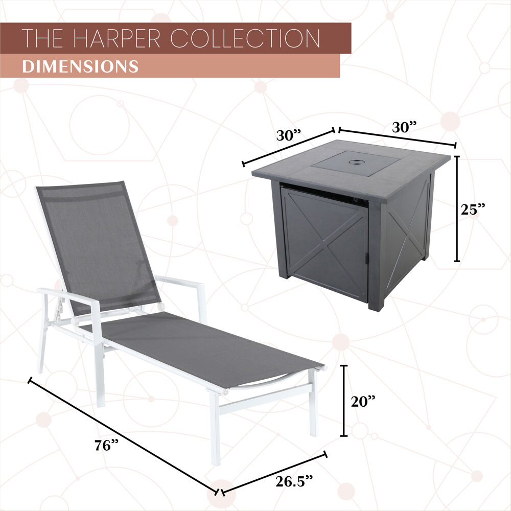 Mod Furniture Harper 3 Piece Modern Outdoor Fire Pit Set With 2 Grey Sling Chaise Lounge Chairs And 40 000 Btu Tile Top Gas Fire Pit Harpchs3pcfp Wg