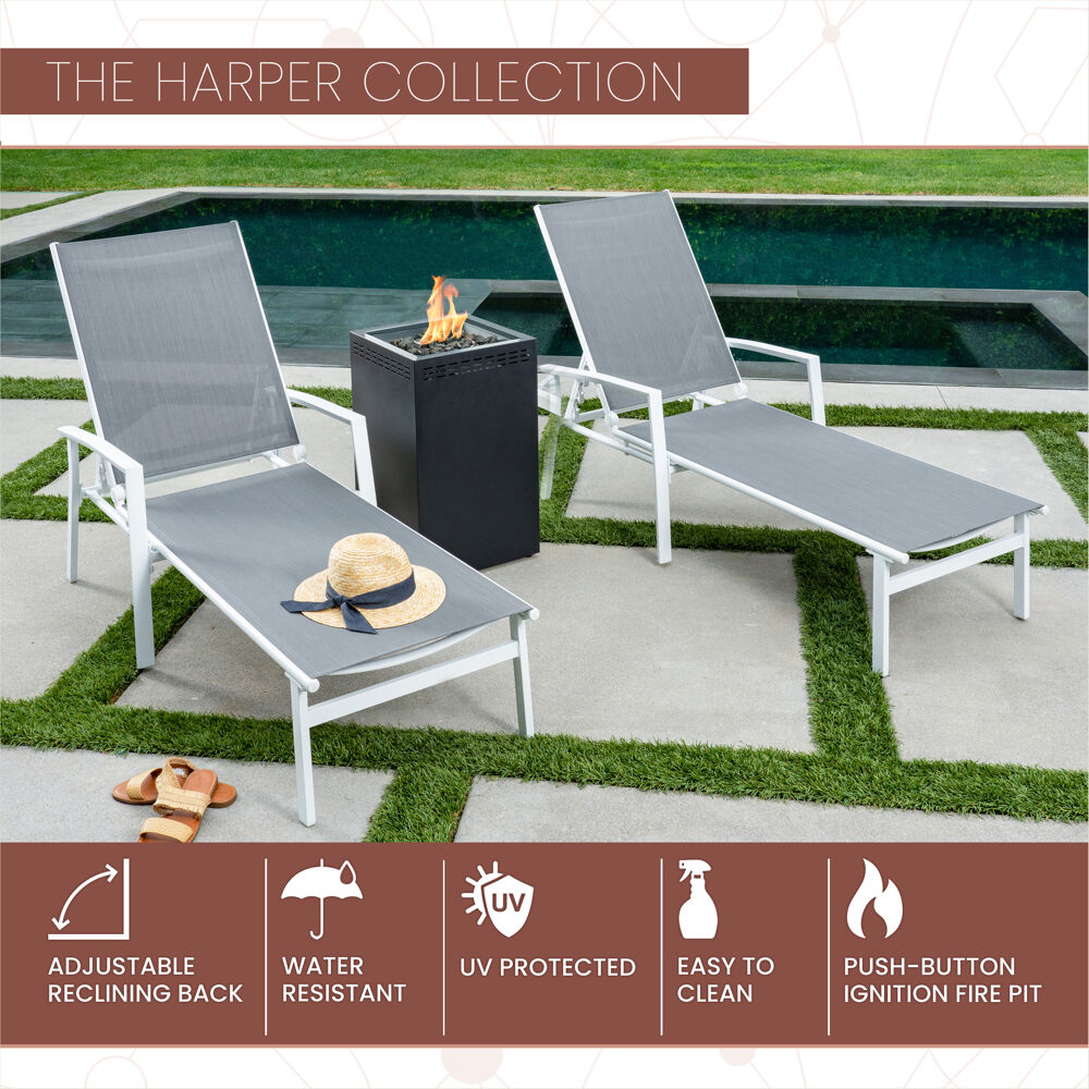 Mod Furniture Harper 3 Piece Modern Outdoor Fire Pit Set With 2 Grey Sling Chaise Lounge Chairs And 40 000 Btu Gas Fire Pit Harpchs3pcgfp Wg