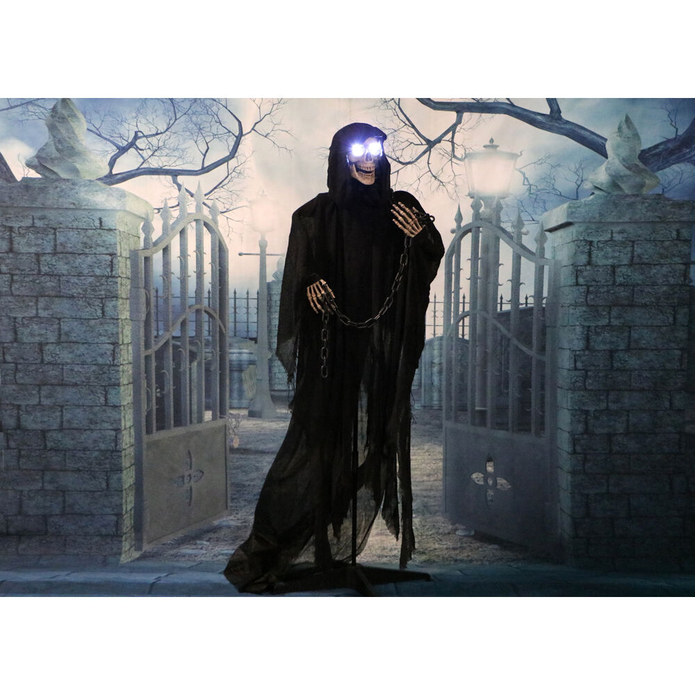 Haunted Hill Farm Life Size Animated Grim Reaper Prop w Chain and Rotating Head for Indoor or Outdoor Halloween Decoration Battery Operated