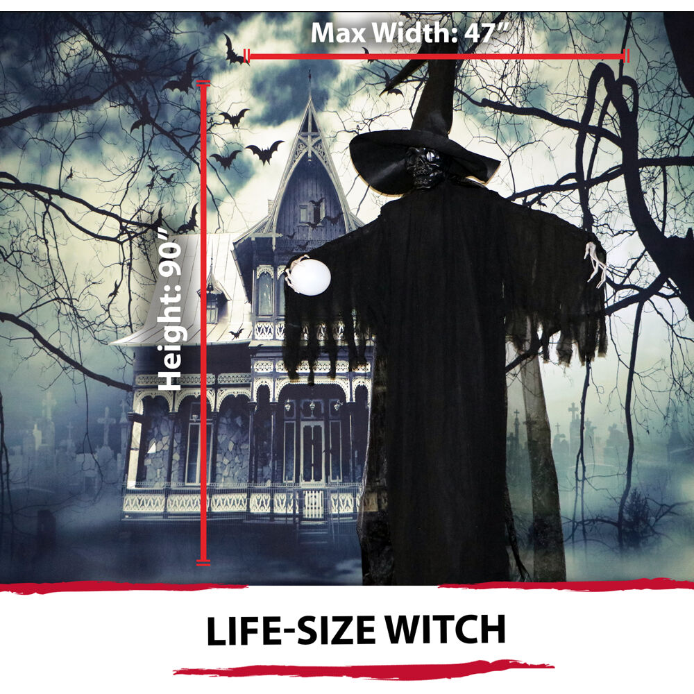 Haunted Hill Farm Life Size Phantom Witch w Battery Operated Multi Color Crystal Ball & Strobe Light for Indoor Outdoor Halloween Decoration