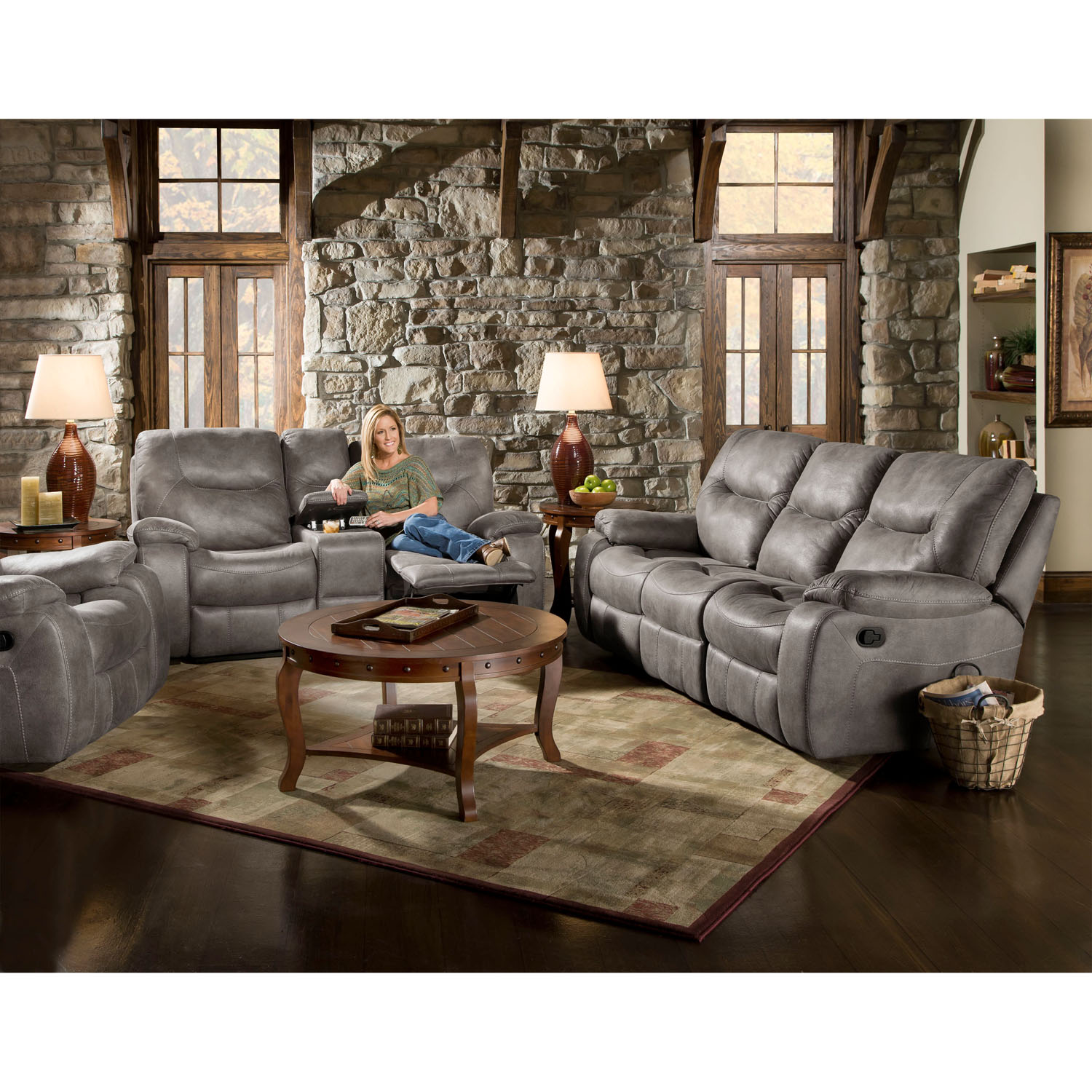 Forte 2pc living room sofa set in charcoal hup002a2pc sn for Charcoal sofa living room