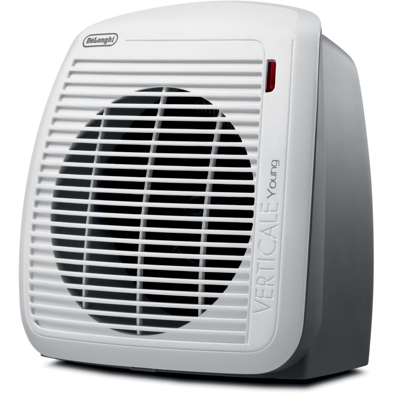 delonghi 1500 watt fan heater in gray with white face. Black Bedroom Furniture Sets. Home Design Ideas