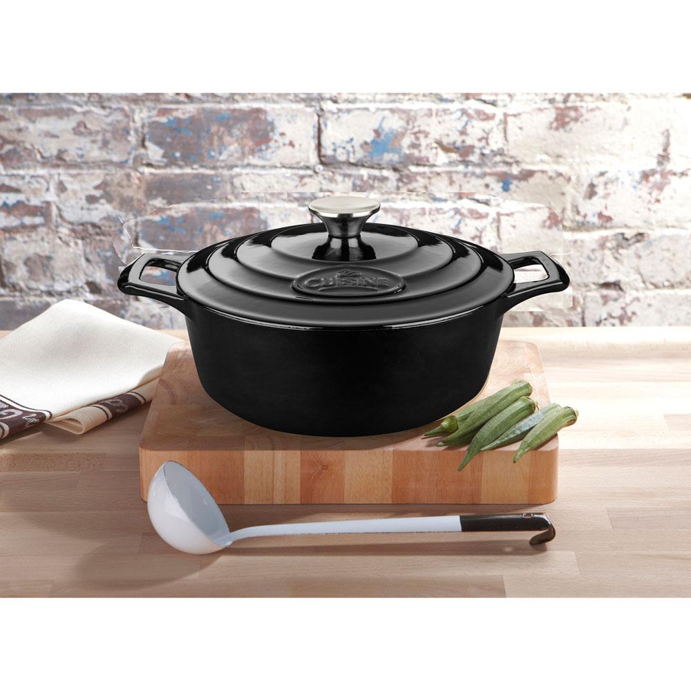 La cuisine pro 4 pc round cast iron casserole set with for Four cuisine pro