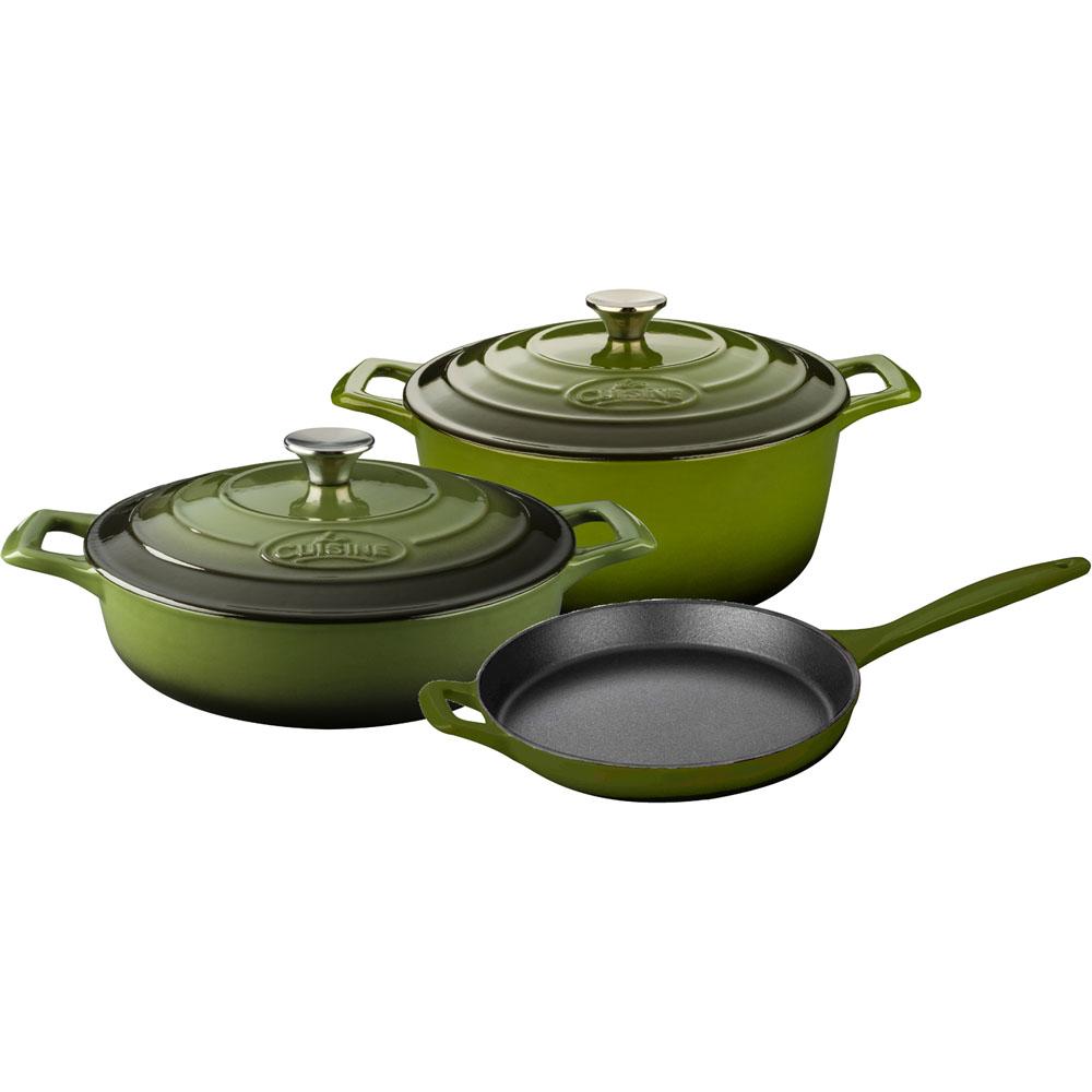 la cuisine 5pc enameled cast iron cookware set in green round casserole lc 2650. Black Bedroom Furniture Sets. Home Design Ideas