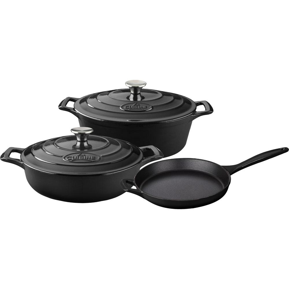 La Cuisine 5pc Enameled Cast Iron Cookware Set In Black
