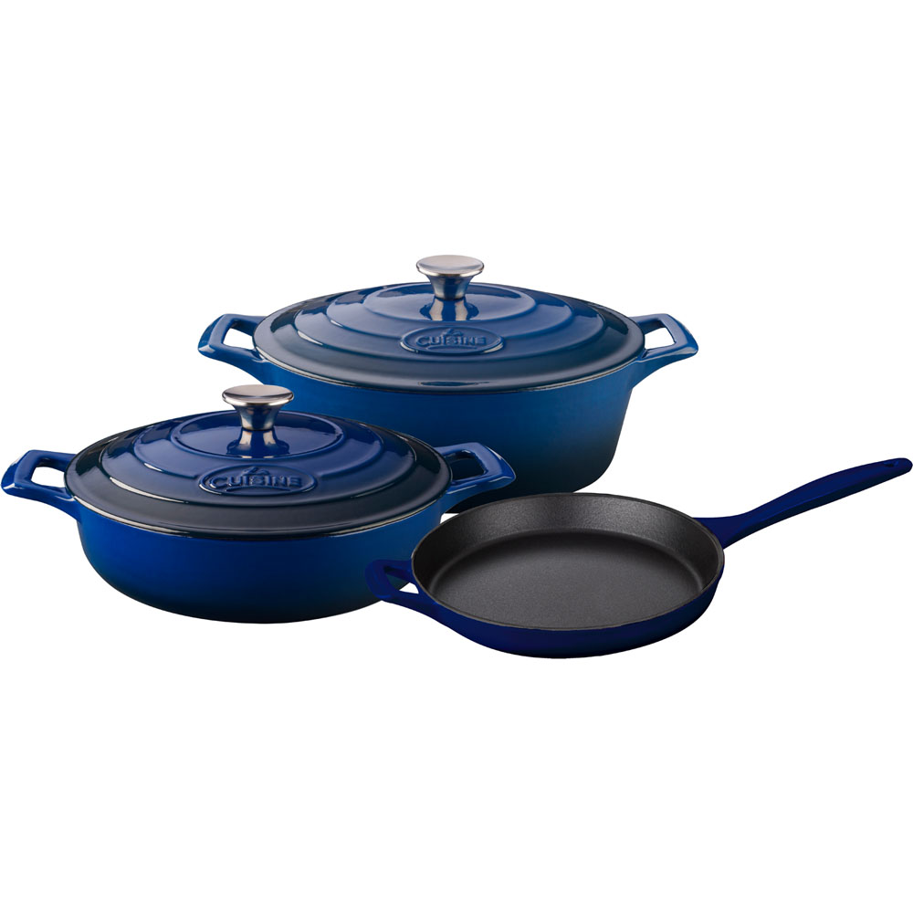 la cuisine pro 5pc enameled cast iron cookware set in blue oval casserole lc 2770mb. Black Bedroom Furniture Sets. Home Design Ideas