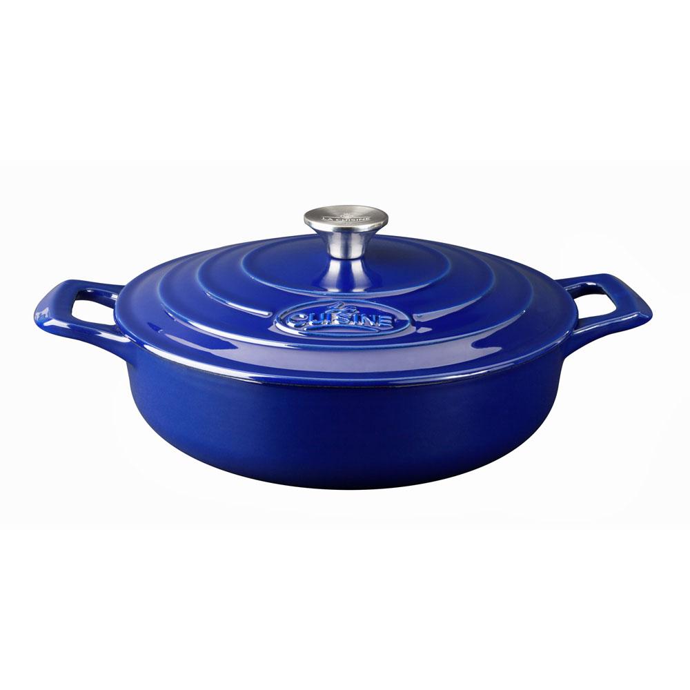 la cuisine 5pc enameled cast iron cookware set in high gloss sapphire oval casserole lc 2779. Black Bedroom Furniture Sets. Home Design Ideas