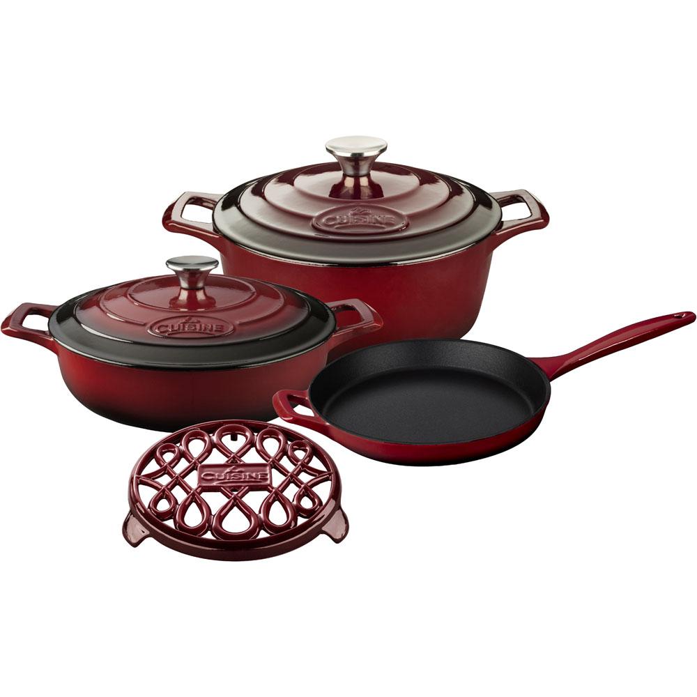 la cuisine 6pc enameled cast iron cookware set in ruby round casserole trivet lc 2805. Black Bedroom Furniture Sets. Home Design Ideas