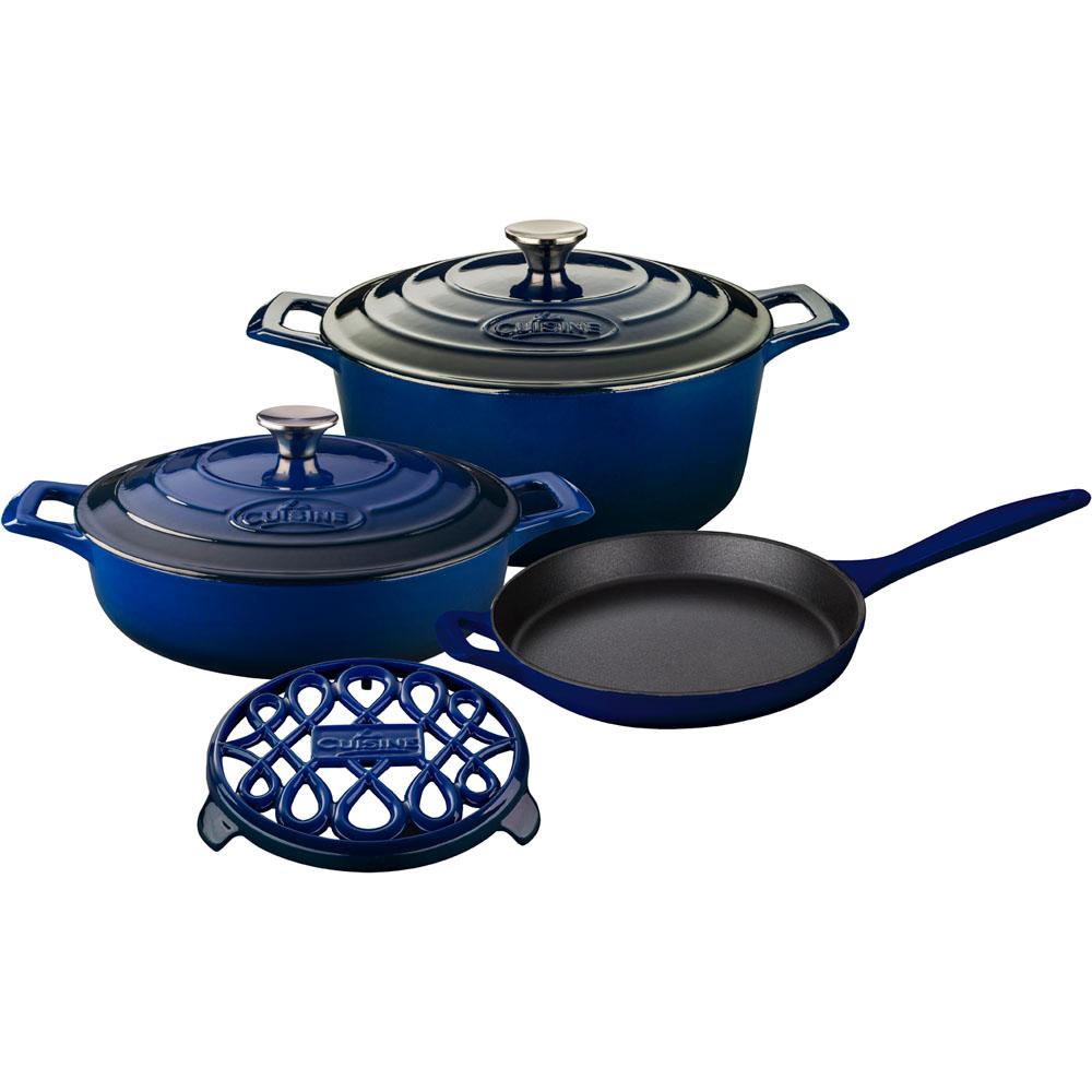 la cuisine 6pc enameled cast iron cookware set in blue round casserole trivet lc 2870. Black Bedroom Furniture Sets. Home Design Ideas