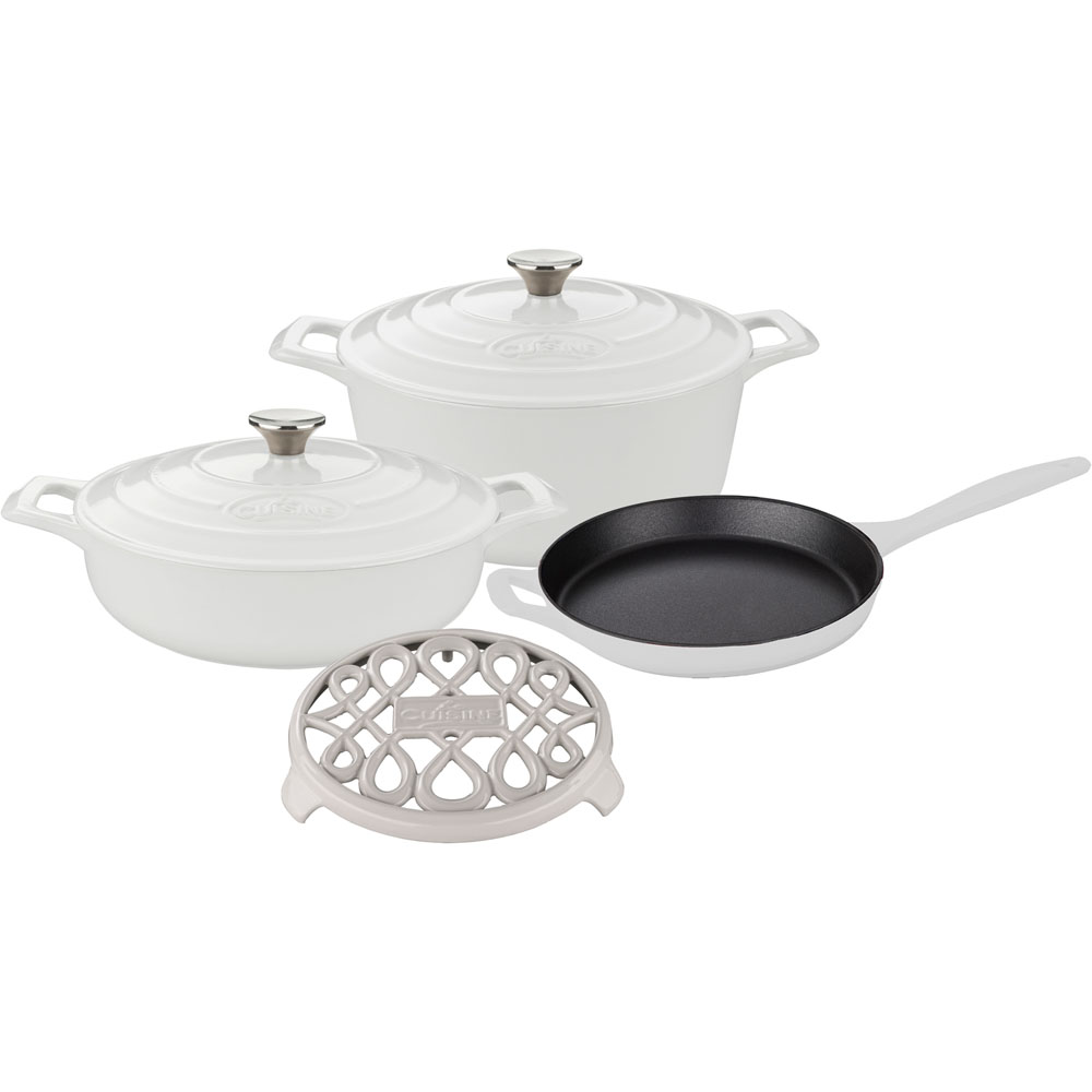 la cuisine 6pc enameled cast iron cookware set in white round casserole trivet lc 2880. Black Bedroom Furniture Sets. Home Design Ideas