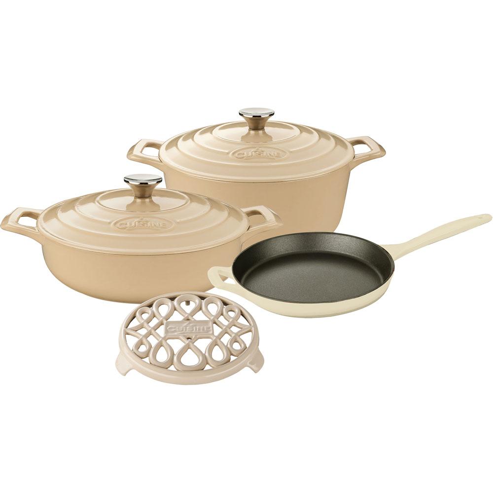 la cuisine 6pc enameled cast iron cookware set in cream round casserole trivet lc 2885. Black Bedroom Furniture Sets. Home Design Ideas
