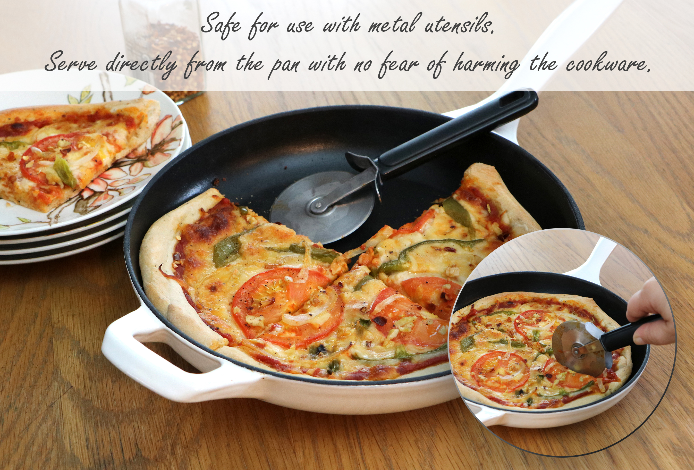 La Cuisine 10 In Cast Iron Skillet With Enamel Finish In