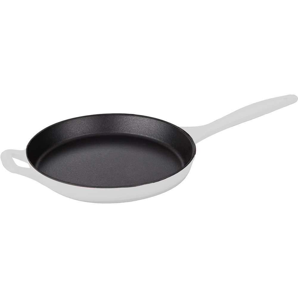 la cuisine 10 in cast iron skillet with enamel finish in white lc 7580. Black Bedroom Furniture Sets. Home Design Ideas