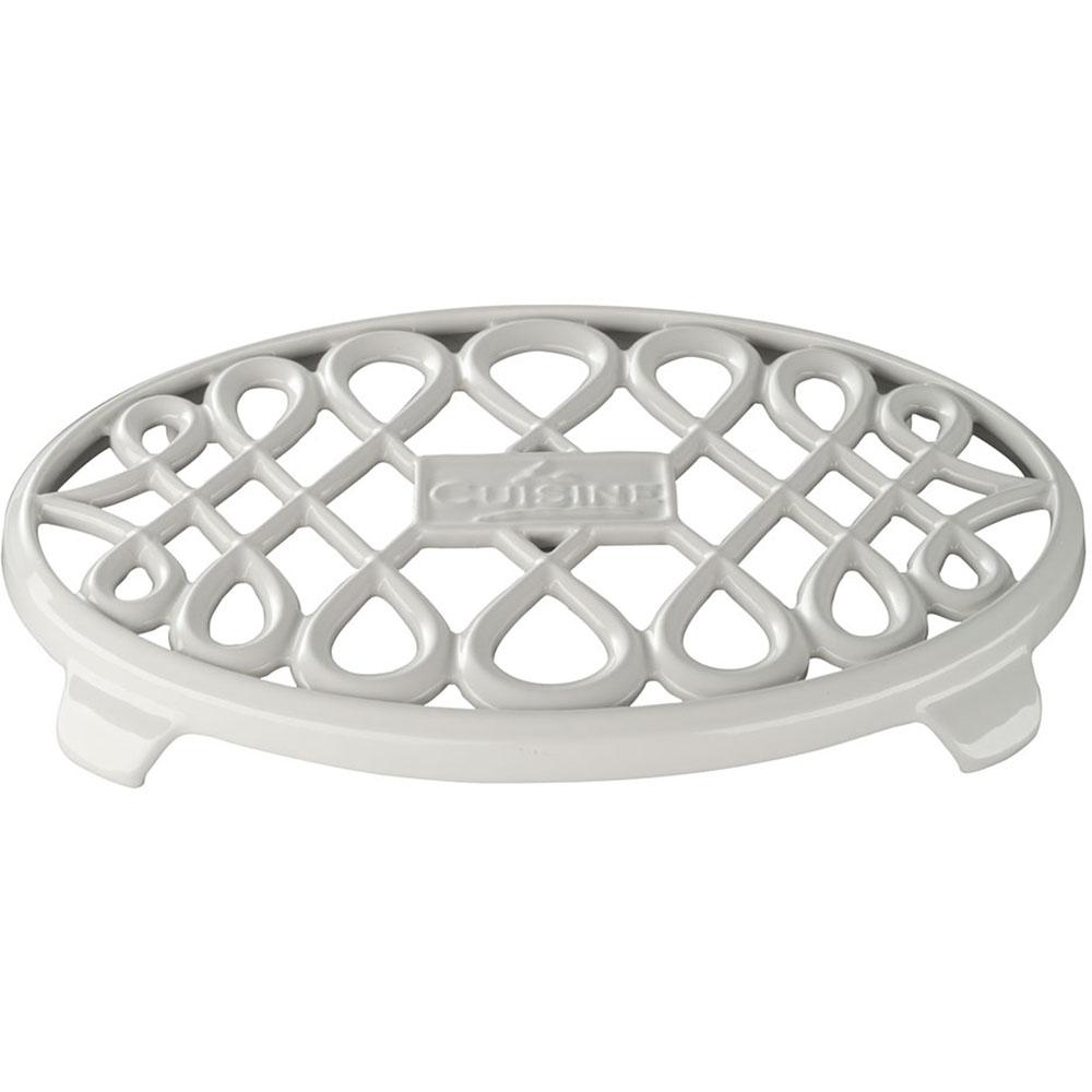 La Cuisine 10 In X 7 In Oval Cast Iron Trivet In White
