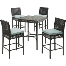 Hanover Malta 5-Piece High-Dining Patio Set with 4 Counter-Height Woven Chairs, 4 Blue Seat Cushions, and a 29-In. Square Table, MALDN5PCBR-BLU