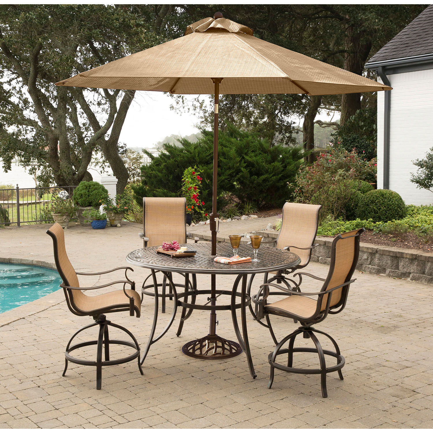 Hanover Manor 5 Piece High Dining Set With 4 Swivel Chairs