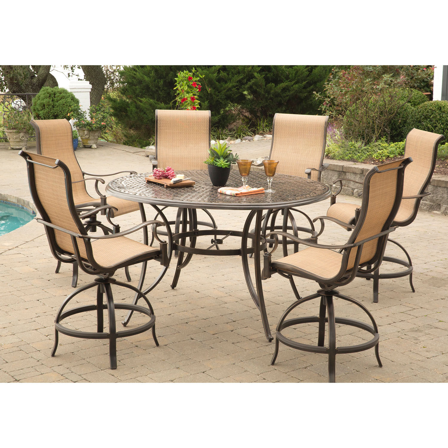 Hanover Manor 7 Piece High Dining Set With 6 Contoured