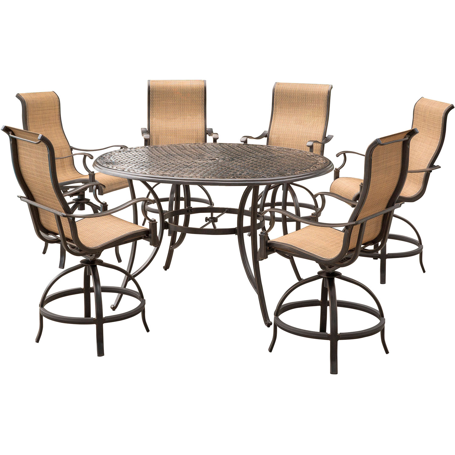 High Dinner Table Set: Hanover Manor 7-Piece High-Dining Set With 6 Contoured
