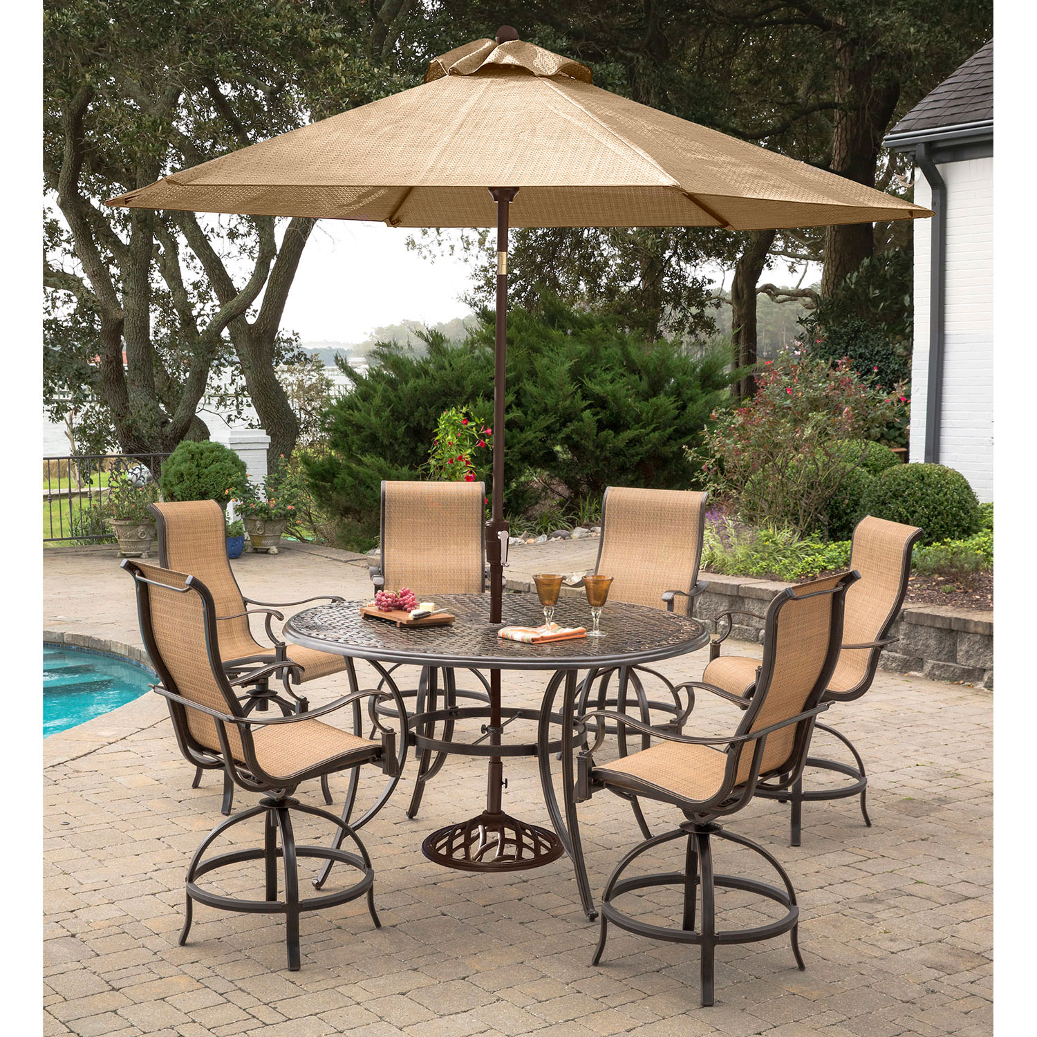Hanover manor 7 piece high dining set with 6 contoured for Patio table and umbrella sets