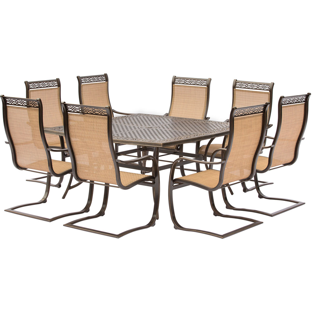 8 Chair Square Dining Table: Manor 9PC Outdoor Dining Set With Large Square Table And 8