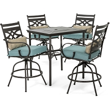Hanover Montclair 5-Piece High-Dining Patio Set in Ocean Blue with 4 Swivel Chairs and a 33-In. Counter-Height Dining Table, MCLRDN5PCBR-BLU
