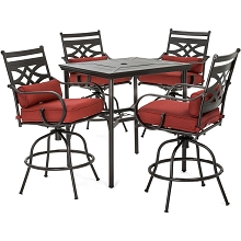 Hanover Montclair 5-Piece High-Dining Patio Set in Chili Red with 4 Swivel Chairs and a 33-In. Counter-Height Dining Table, MCLRDN5PCBR-CHL