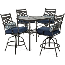 Hanover Montclair 5-Piece High-Dining Patio Set in Navy Blue with 4 Swivel Chairs and a 33-In. Counter-Height Dining Table, MCLRDN5PCBR-NVY
