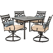Hanover Montclair 5-Piece Patio Dining Set in Country Cork with 4 Swivel Rockers and a 40-Inch Square Table - MCLRDN5PCSQSW4-TAN
