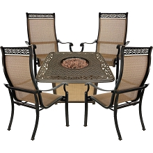 Hanover Monaco 5-Piece Fire Pit Chat Set with 4 Sling Dining Chairs and a 30,000 BTU Cast-Top Propane Fire Pit Coffee Table, MON5PCCFP