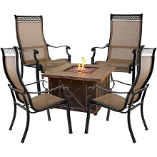 Hanover Monaco 5-Piece Fire Pit Chat Set with 4 Sling Dining Chairs and a 40,000 BTU Durastone Propane Fire Pit Coffee Table, MON5PCDFP