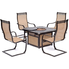 Hanover Monaco 5-Piece Fire Pit Chat Set with 4 Sling C-Spring Chairs and a 40,000 BTU Cast-Top Propane Fire Pit Coffee Table, MON5PCSP4CFP