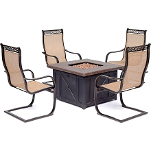 Hanover Monaco 5-Piece Fire Pit Chat Set with 4 Sling C-Spring Chairs and a 40,000 BTU Durastone Propane Fire Pit Coffee Table, MON5PCSP4DFP
