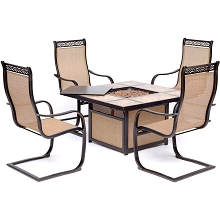Hanover Monaco 5-Piece Fire Pit Chat Set with 4 Sling C-Spring Chairs and a 40,000 BTU Tile-Top Propane Fire Pit Coffee Table, MON5PCSP4TFP