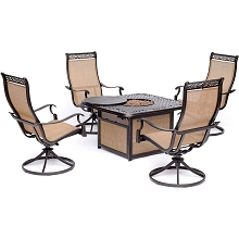 Hanover Monaco 5-Piece Fire Pit Chat Set with 4 Sling Swivel Rockers and a 40,000 BTU Cast-Top Propane Fire Pit Coffee Table, MON5PCSW4CFP