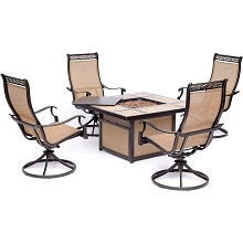 Hanover Monaco 5-Piece Fire Pit Chat Set with 4 Sling Swivel Rockers and a 40,000 BTU Tile-Top Propane Fire Pit Coffee Table, MON5PCSW4TFP