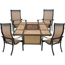 Hanover Monaco 5-Piece Fire Pit Chat Set with 4 Sling Chairs and a 40,000 BTU Tile-Top Propane Fire Pit Coffee Table, MON5PCTFP