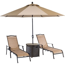 Hanover Monaco 4-Piece Lounge Set with 2 Sling Chaise Lounge Chairs, Round Tile-Top Side Table, and 9-Ft. Tilt Umbrella, MONCHS3PC-RT-SU