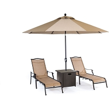Hanover Monaco 4-Piece Lounge Set with 2 Sling Chaise Lounge Chairs, Square Slat-Top Side Table, and 9-Ft. Tilt Umbrella, MONCHS3PC-SQ-SU