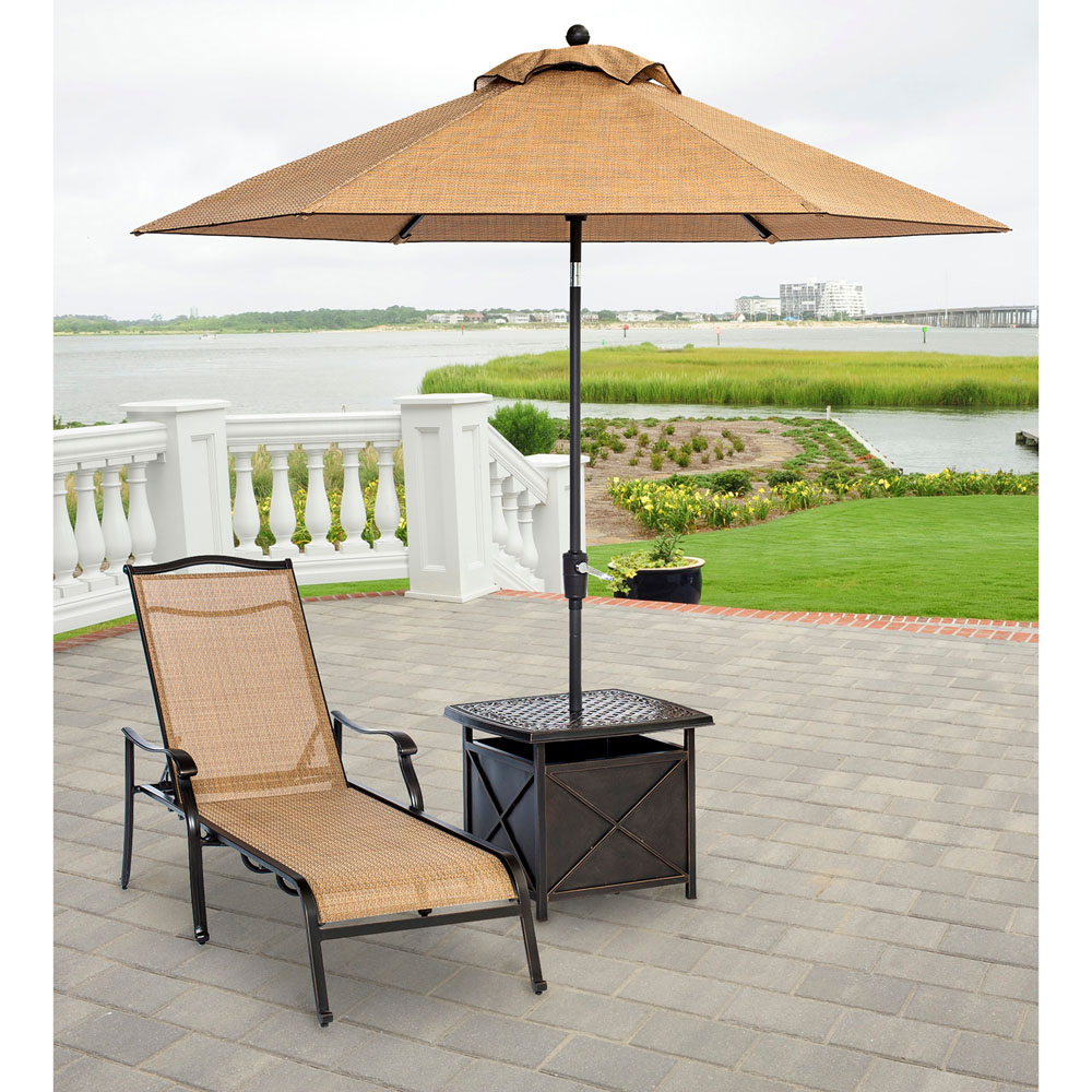 Monaco Chaise Lounge Chair With Side Table And Umbrella