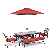 Hanover Monaco 5-Piece Patio Dining Set in Red with 2 Dining Chairs, 2 Benches, 40