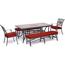 Hanover Monaco 5-Piece Patio Dining Set in Red with 2 Dining Chairs, 2 Benches, and a 40