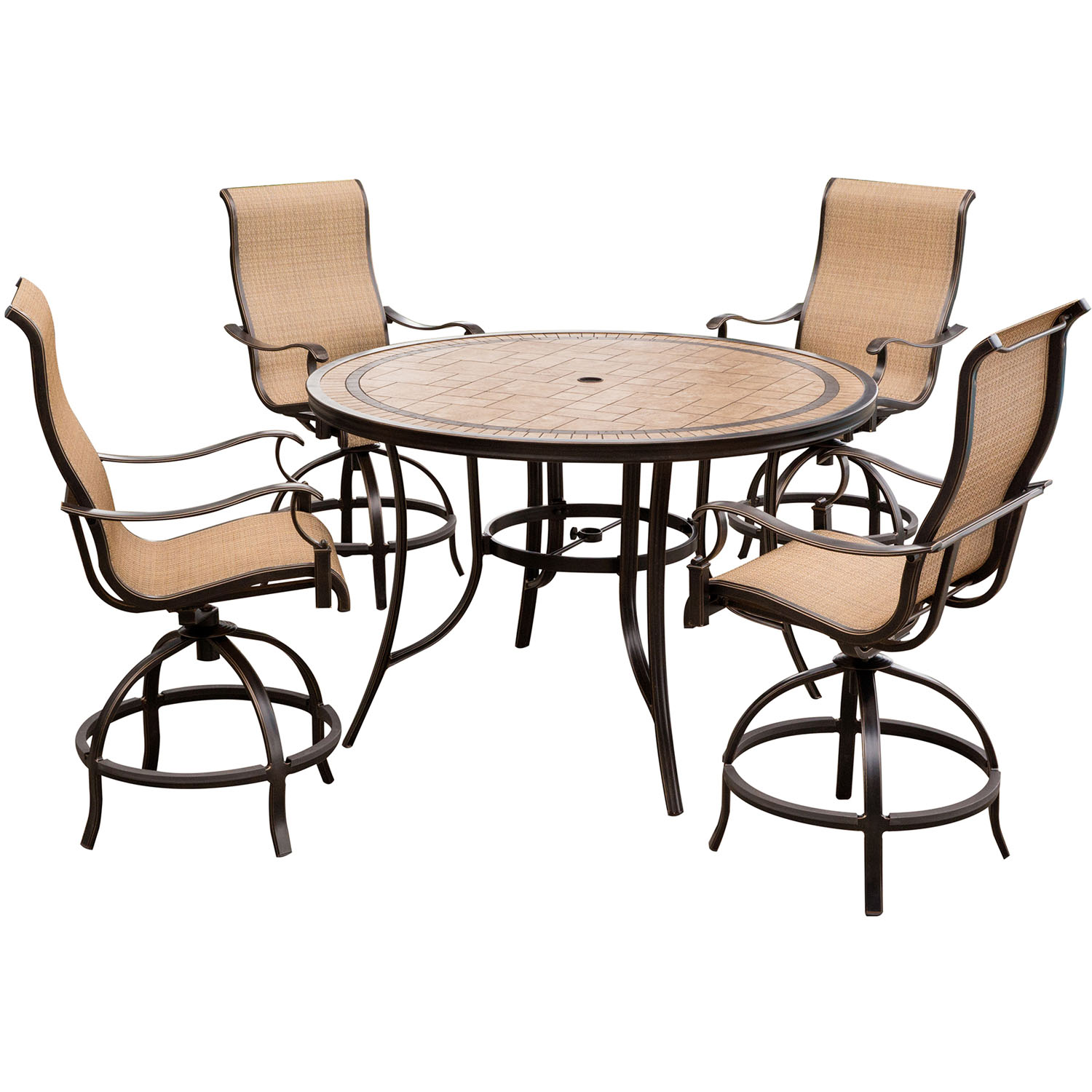 High Top Dining Table Set: Monaco 5-Piece High-Dining Set With 56 In. Tile-top Table