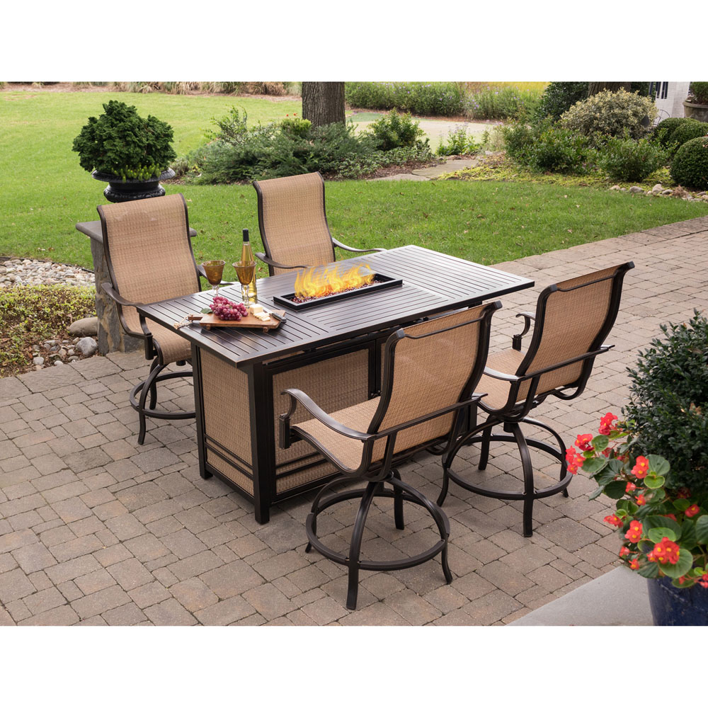 Hanover Monaco 5 Piece High Dining Set With 4 Swivel