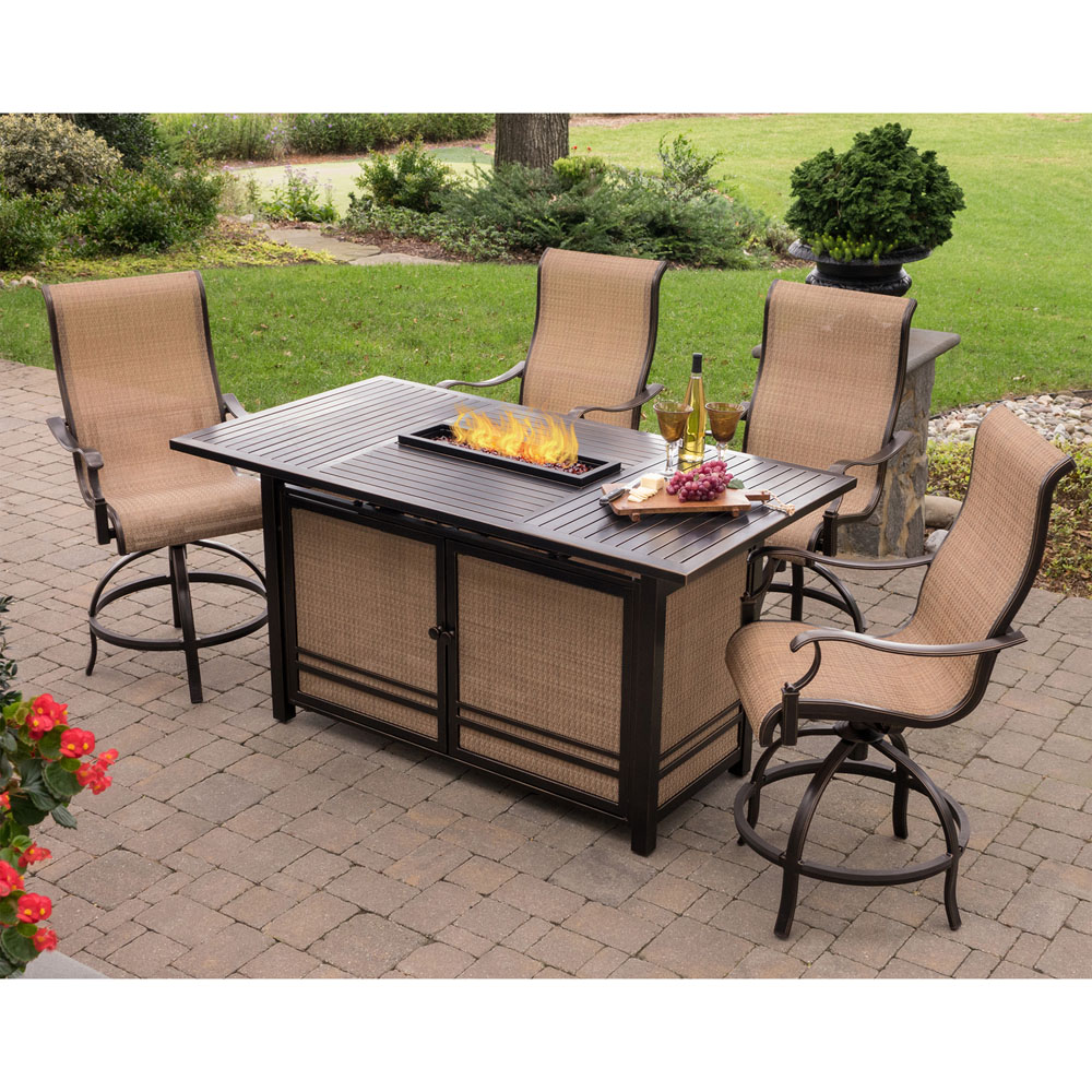 hanover monaco 5 piece high dining set with 4 swivel chairs and a 30 000 btu fire pit table. Black Bedroom Furniture Sets. Home Design Ideas
